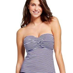 Mossimo Twist Bandeau Striped Bikini Tankini Top